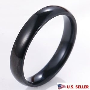 USA 4MM Women Men Polished Titanium Stainless Steel Ring Black Ring Promise Ring