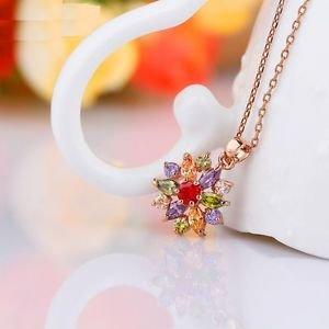 USA Fashion 18K Rose Gold Multi-Color Flower Crystal Pendant Necklace For Women