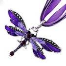 Lady Purple Dragonfly Charms Necklace Chain Rhinestone Inlay Gemstone Pendant