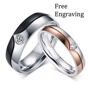 Free Engraving 2 PCS Royal Style Titanium Steel Couple Matching Wedding Rings