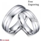 Women Men Unisex 6mm Silver Titanium Steel Couple Ring Engagement Wedding Rings