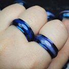 US 2Pcs Blue Cat Eye Enamel Top Stainless Steel Couple Ring Set Blue rings