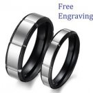 Free Engraving Black & Silver Stainless Steel Couple Matching Wedding Rings band