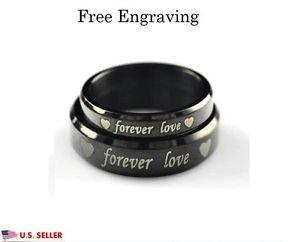 Custom Engraving 2 PCS Black Titanium Steel Couple Promise Wedding Rings Bands