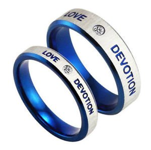 Free Engraving Blue Stainless Steel Ring Love Devotion Ring Couple Promise Rings