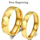 Free Engraving 2pcs 18k Gold Faceted Style Couple Ring Set Promise Wedding Rings