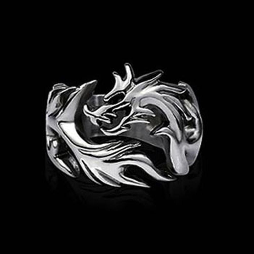 USA Newest Jewelry Mens Ring Silver Stainless Steel Dragon Ring Size 8-10