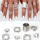 USA Women Vintage 8Pcs/Set Popular Antique Silver Knuckle Midi Mid Finger Rings