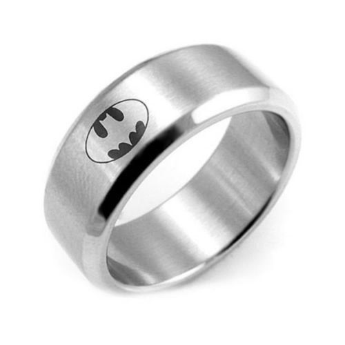USA 8MM Polished Silver Batman Ring Stainless Steel Men Ring Band