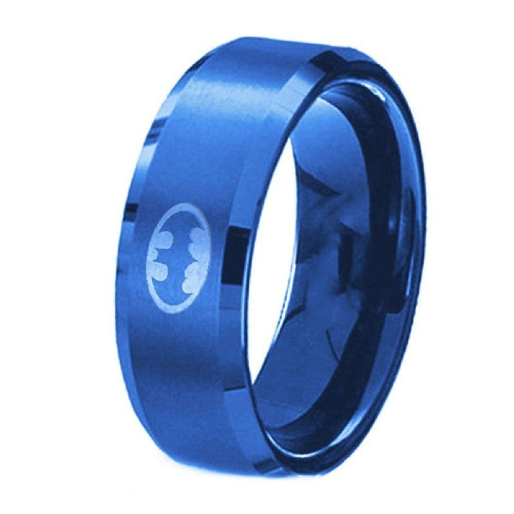 US 8MM Polished Blue Batman Symbol Ring Titanium Stainless Steel Men Ring Band