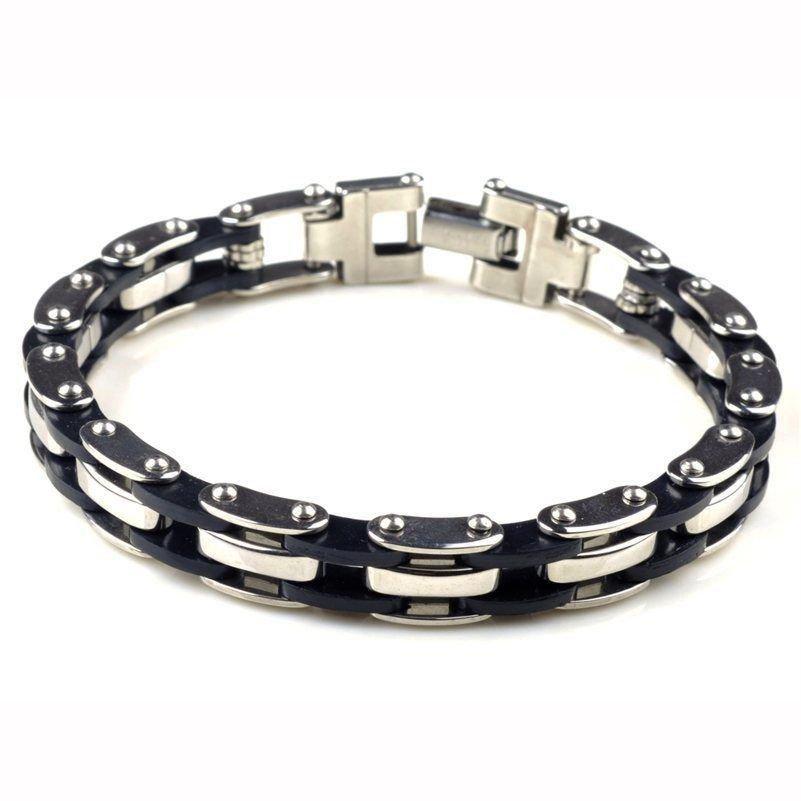 New Fashion Men Silver Titanium Steel Black Rubber Bracelet Bangle Wristband
