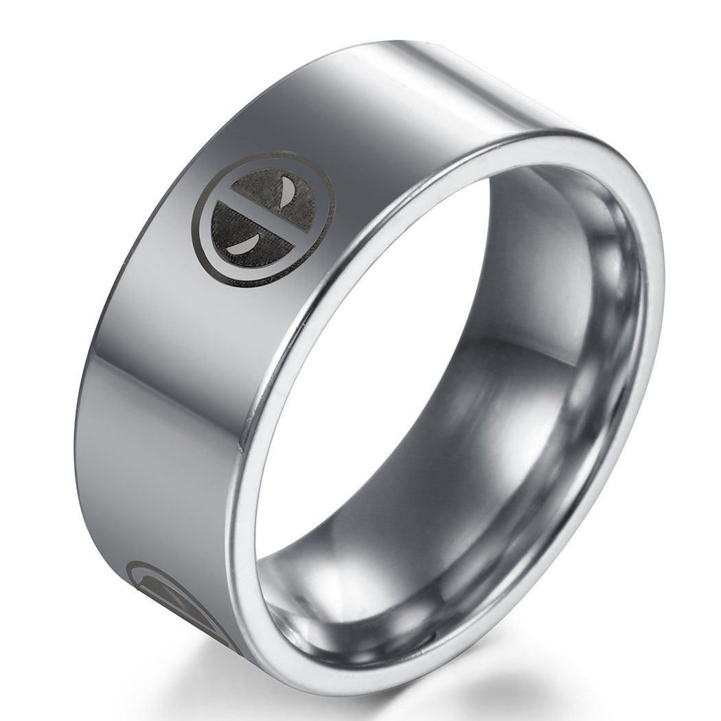 USA Deadpool Silver Titanium Stainless Steel Men Women Ring Band Size 6-13