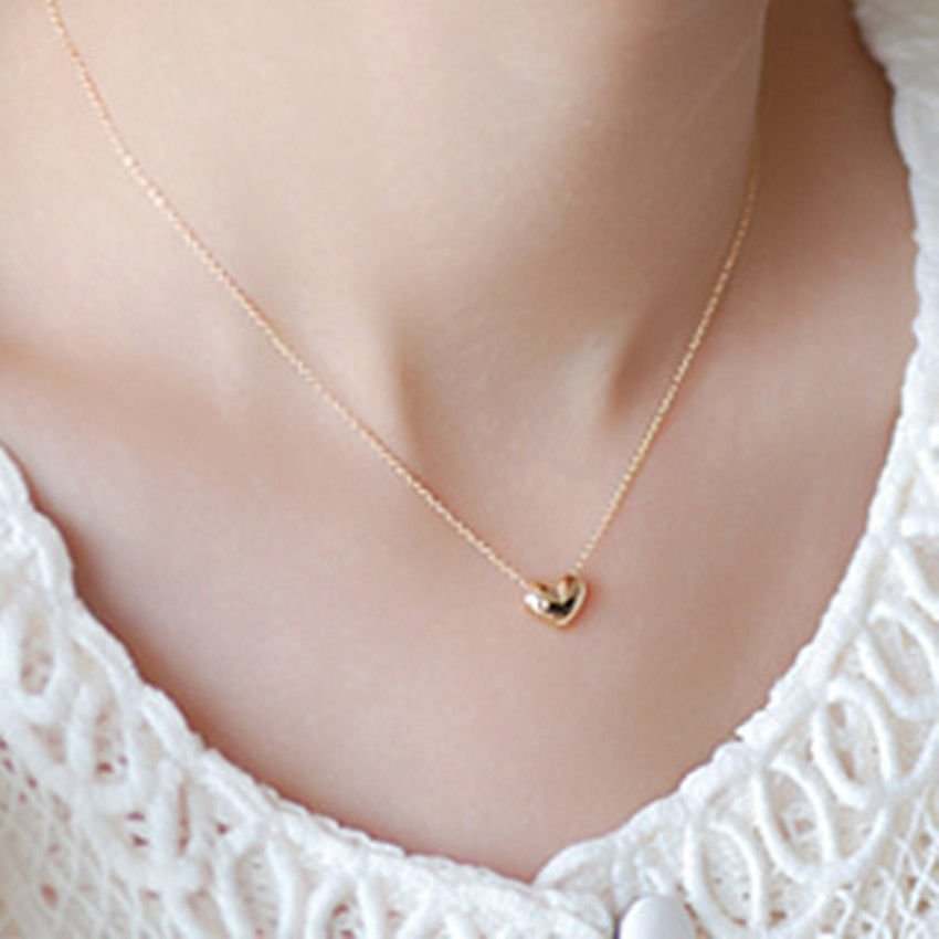 USA 18K Gold Plated Chain Women Heart Shape Necklace Ladies Girl Necklace