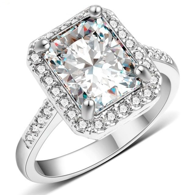 US Women Platinum White Gold Plated Square Style White Sapphire Wedding Ring