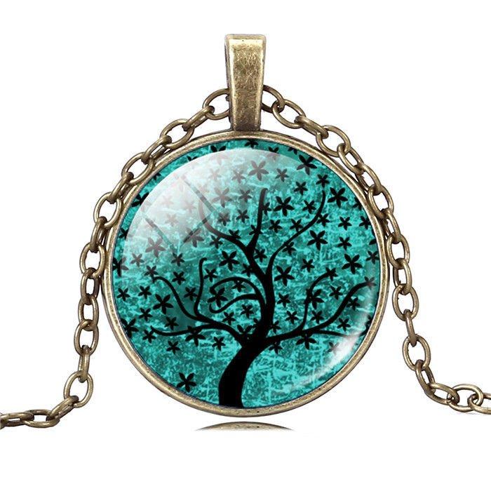 Tree of Life Mosaic Vintage Women Art Tree Necklace Pendant Fashion Jewelry Gift