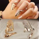 USA Dragonfly Flower Rhinestones Finger Tip Nail Cover Ring Women Jewelry Gift