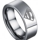 USA 8MM Superman Symbol Silver Titanium Stainless Steel Men His Ring Band
