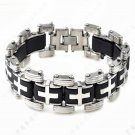 Silver Stainless Steel & Black Silicone Men's Cross Bracelet Wristband Bangle