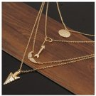 USA 4 Layer Chain Gold Plated Charm Choker Chain charm Pendant Necklace
