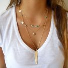 USA Fashion 3 Layer Gold Chain Turquoise Beads Golden Feather Pendant Necklace