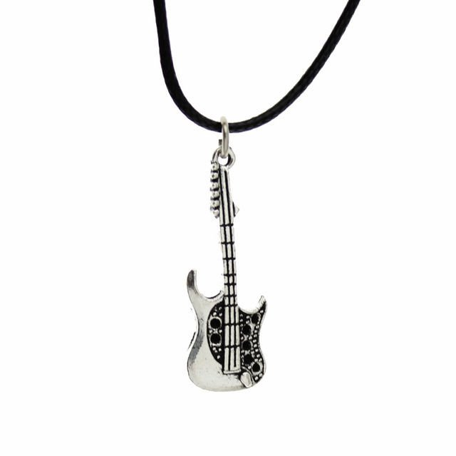 "USA Unisex 17"" Silver Guitar Pendant Charm Necklace Fashion Jewelry Gift"
