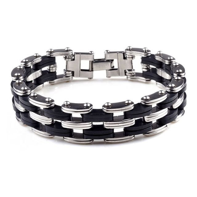 Silver Stainless Steel & Black Silicone Men's Bracelet Wristband Cuff Bangle