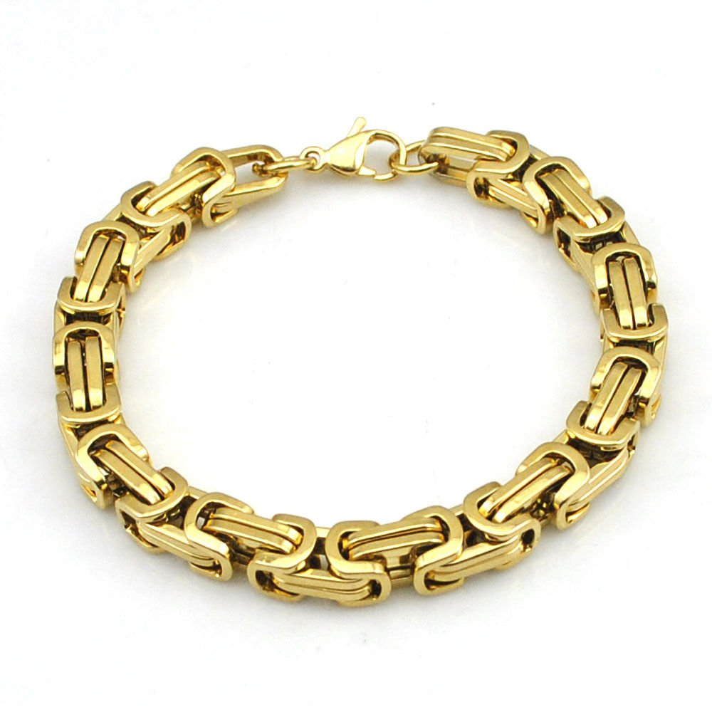 6mm Gold Color Stainless Steel Byzantine Link Chain Bangle Men's Bracelet