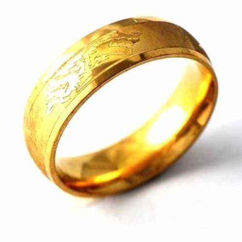 Fashion Stainless Steel Ring Asian gold Band Dragon Couple Ring Size Size 7-11