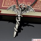 US Men's Medieval Flying Dragon Sword Titanium Stainless Steel Pendant Necklace
