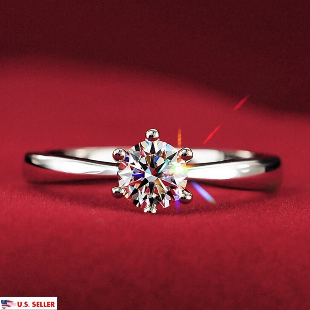 USA New 1.2 Carat Simulated Diamond Women 18K White Gold Plated Wedding Ring