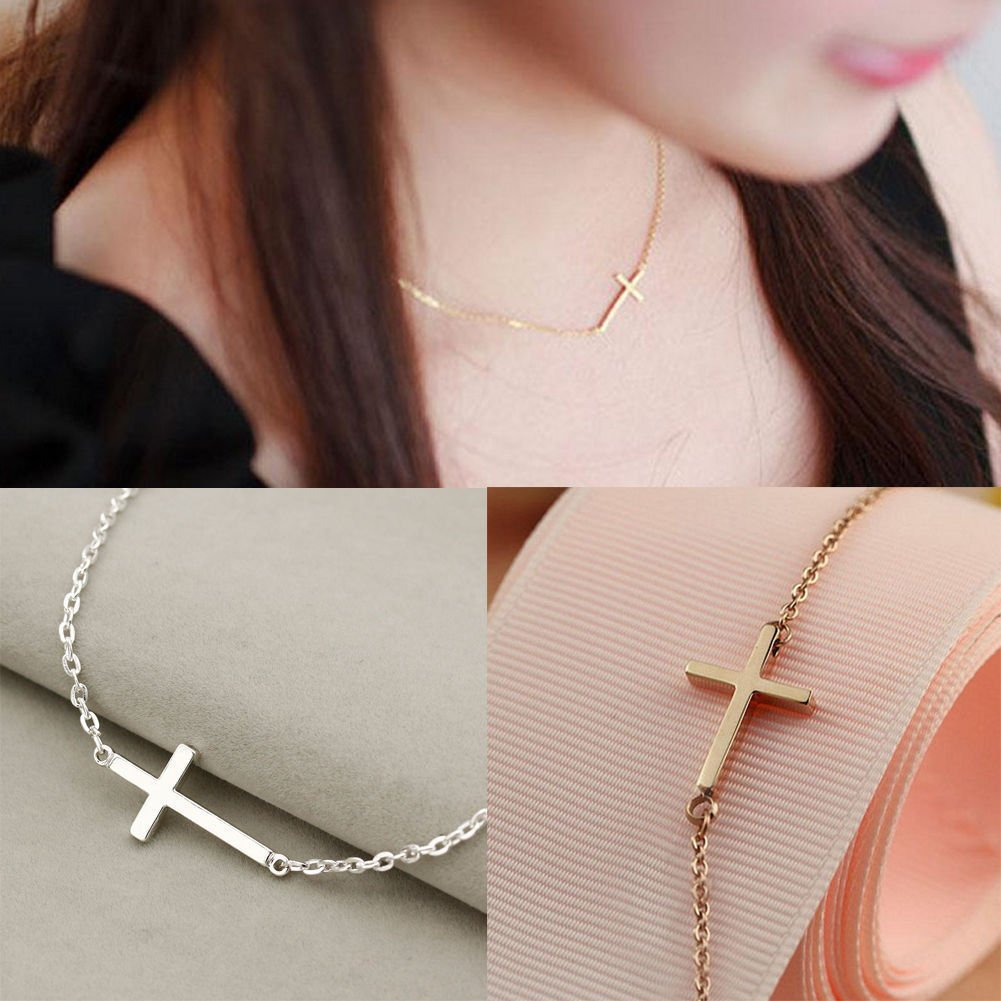 USA Sideways Simple Cross Pendant Choker Elegant Party Chain Horizontal Necklace