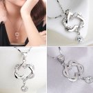 USA Silver Plated Fashion Women Double Heart Pendant Necklace Chain Jewelry NEW