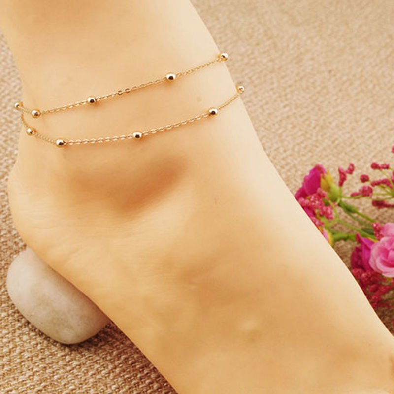 USA Women 18K Gold Plated Double Foot Chain Anklet Barefoot Ankle Bracelet