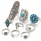 USA 9PCS Bohemian Beach Turquoise Arrow Ethnic Boho Open Midi Knuckle Ring Set