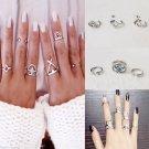 USA 6Pcs/Sets Bohemian Silver Geometric Triangle Rhombus Midi Rings Knuckle Ring