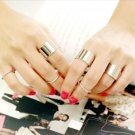 USA 9PCS Silver Tone Punk Wide Band Ring Stack Plain Knuckle Midi Mid Rings Set