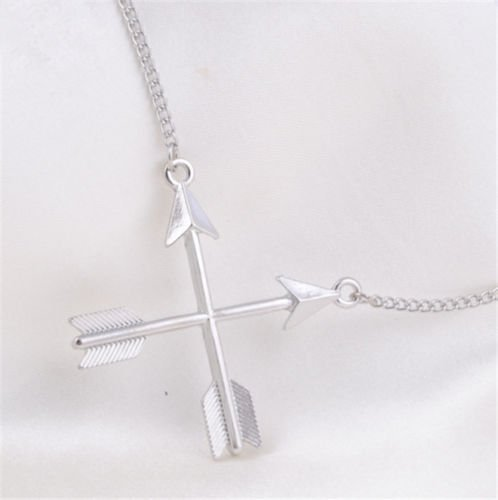 USA Women Fashion Popular Piercing Crossed X Arrow Pendant Rose gold Necklace