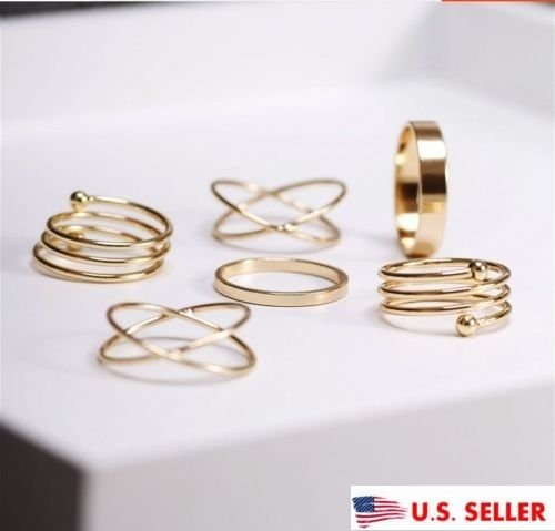 USA 6Pcs Set Midi Above Knuckle Ring Band Gold Plated Tip Finger Stacking