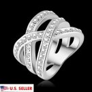 USA Womens 925 Sterling Silver Austrian Zircon Criss Cross Setting Double X Ring