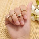 6PCS/Set Urban Bowknot Star Heart Knuckle Midi Mid Finger Tip Stacking Rings