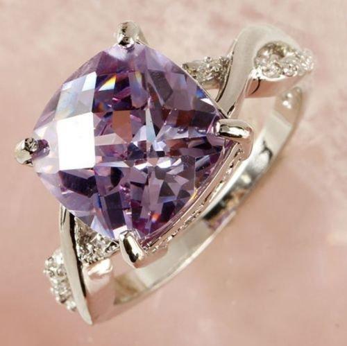 USA Charm Especial Tourmaline Purple Topaz Gemstone Women Jewelry Silver Ring