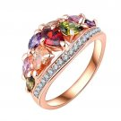 Multicolor Rose Gold Plated Austrian Crystal Fashion Women Promise Wedding Ring