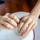 5pcs Vintage Turkish Beach Punk Arrow Ring Set Ethnic Carved Midi Knuckle Ring