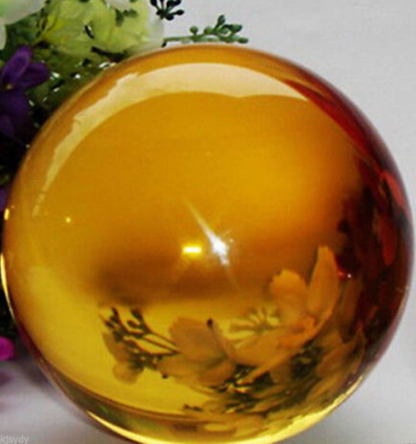 USA 40mm+Stand Asian Rare Yellow Magic K9 Crystal Healing Ball Sphere