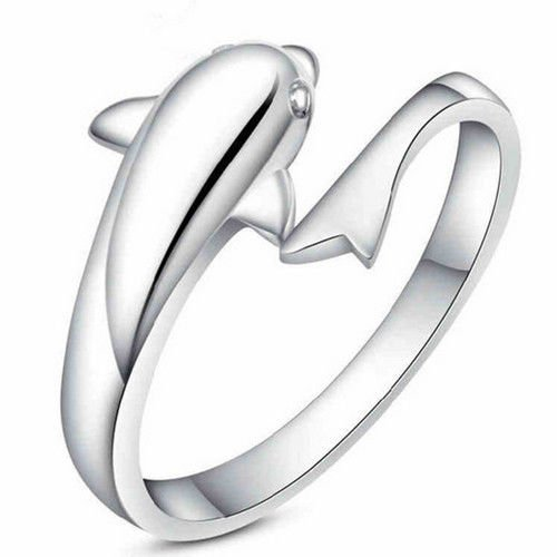 USA New Fashion 925 Sterling Silver Plated Double Dolphin Open Adjustable Ring