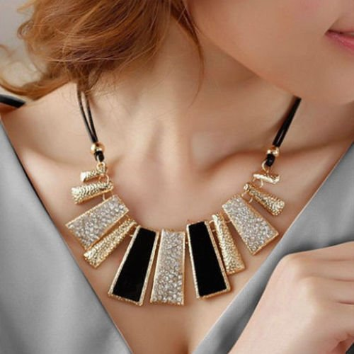 US Women's Choker Fashion Beads Enamel Bib Leather Braided Rope Chain Necklace