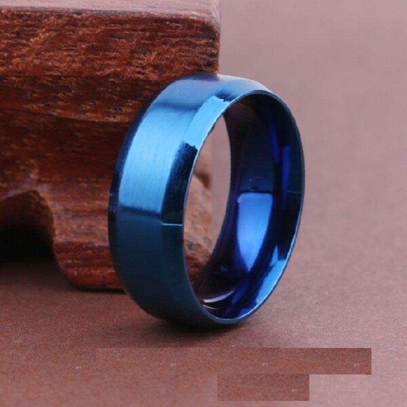 USA 8MM Blue Titanium Stainless Steel Carbide Beveled Edges Promise Ring Band