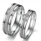 USA 2Pcs Silver Frosted Couple Ring Engagement Promise Rings Wedding Rings
