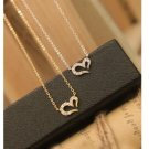 US Love Heart Shape Pendant Chain Fashion Rhinestone Women Jewelry Necklace