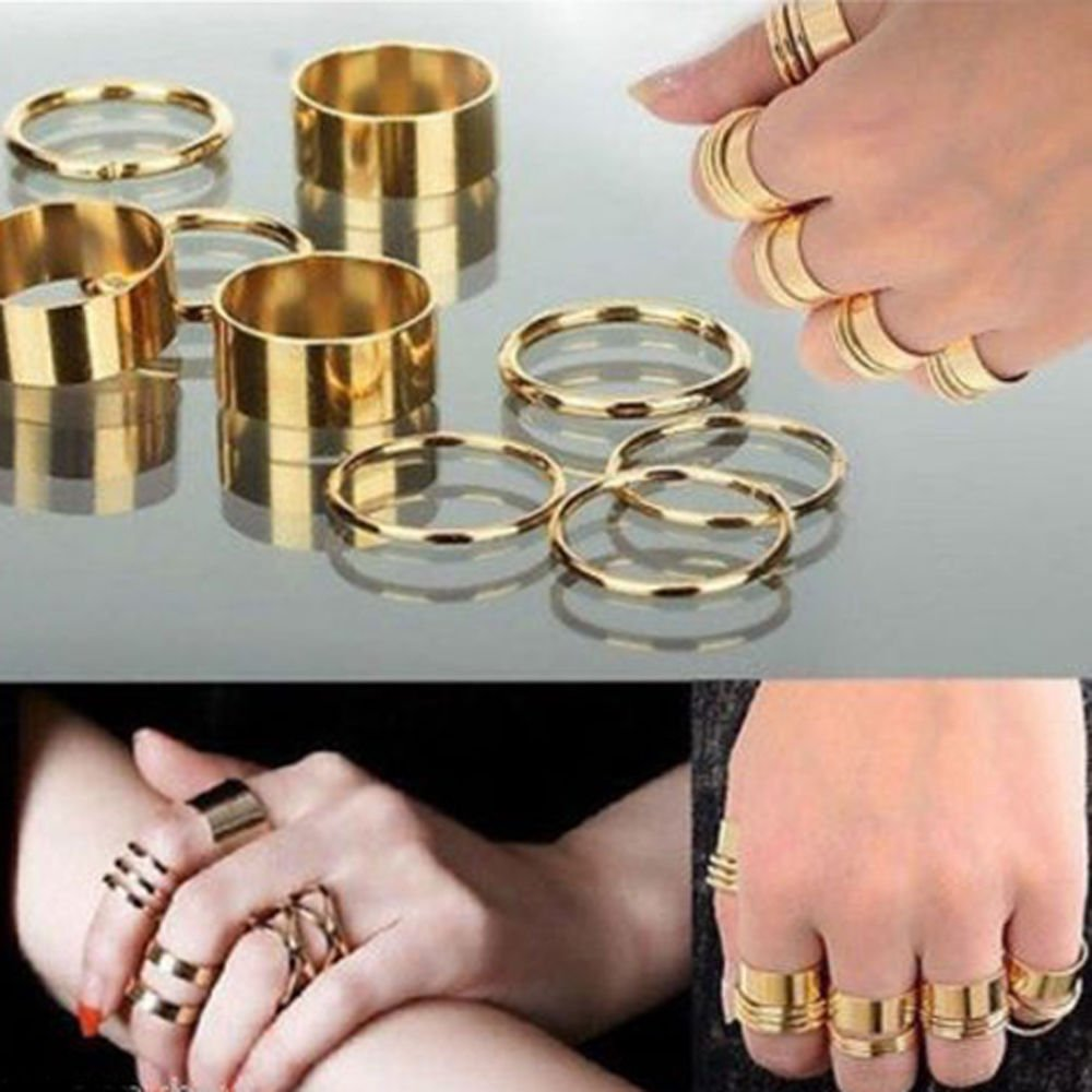 USA 9PCS Gold Tone Punk Wide Band Ring Stack Plain Knuckle Midi Mid Rings Set